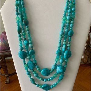 RJ Graziano triple strand faux turquoise necklace